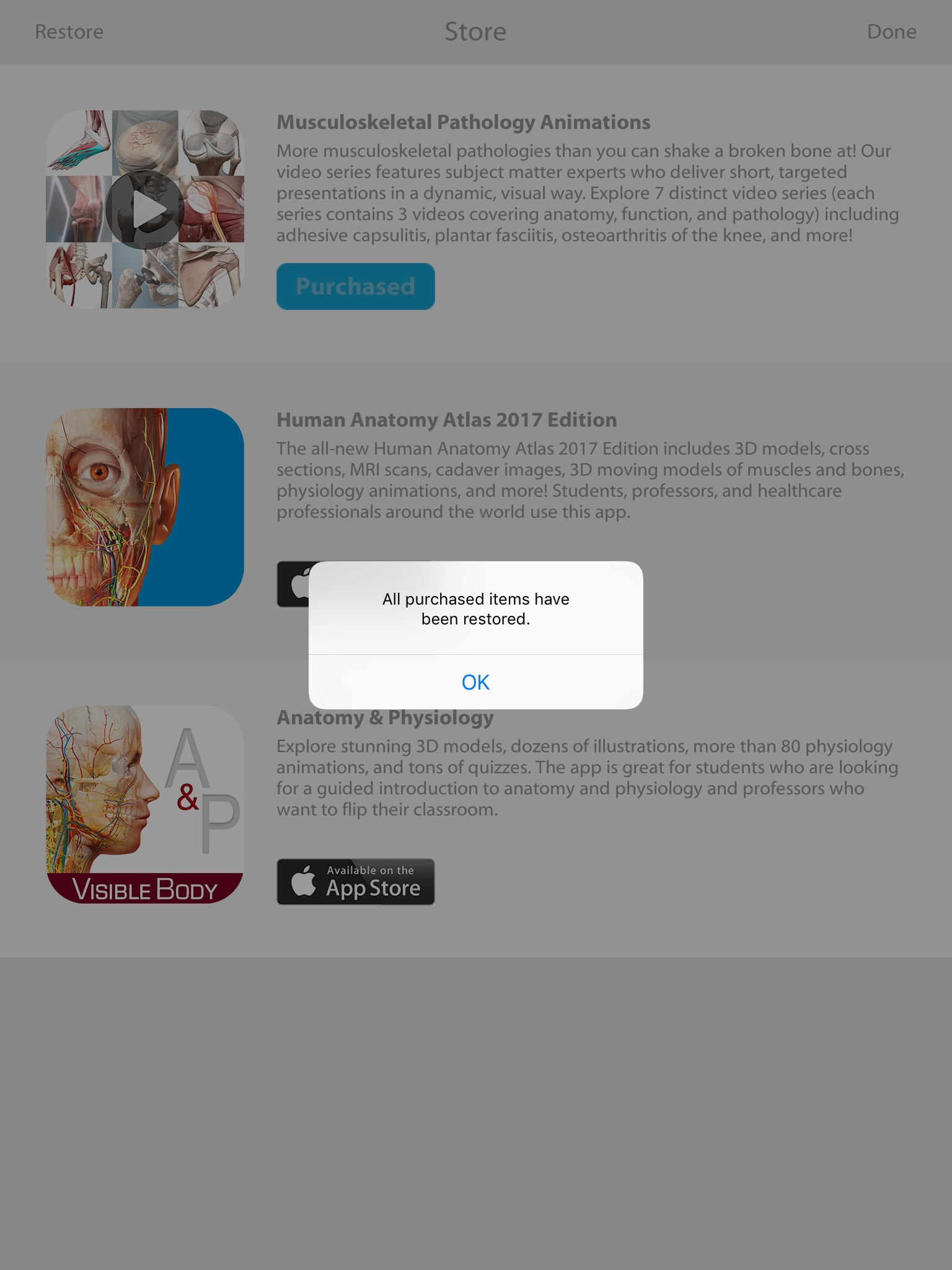 Making or restoring an in-app purchase – Visible Body